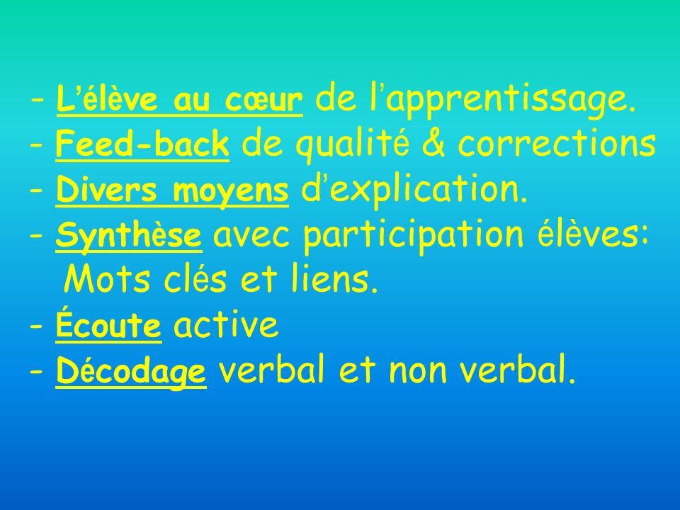 - L'élève au cœur de l'apprentissage