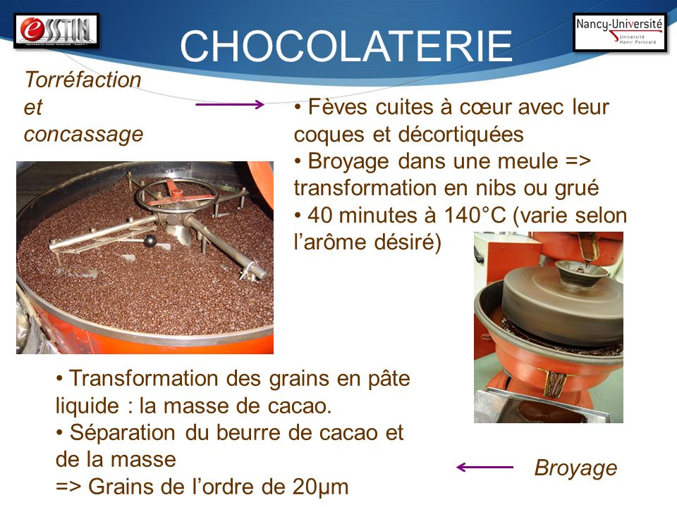 CHOCOLATERIE Torréfaction et concassage