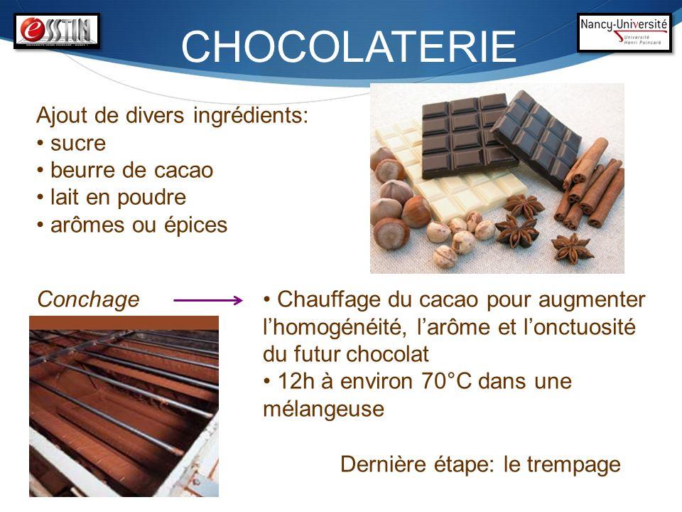 CHOCOLATERIE Ajout de divers ingrédients: sucre beurre de cacao