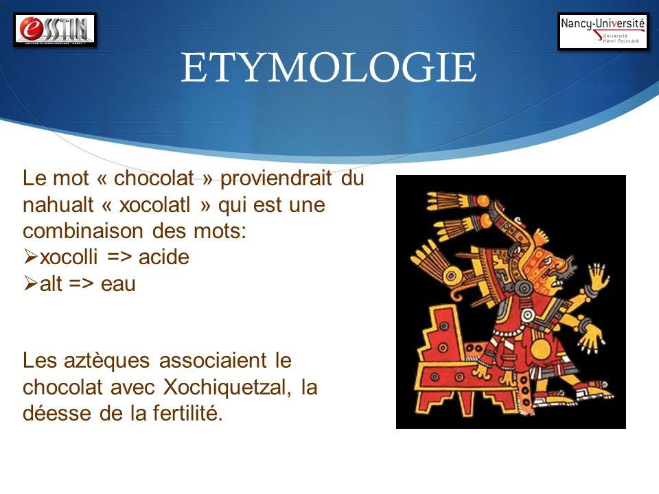 ETYMOLOGIELe mot « chocolat » proviendrait du nahualt « xocolatl » qui est une combinaison des mots: