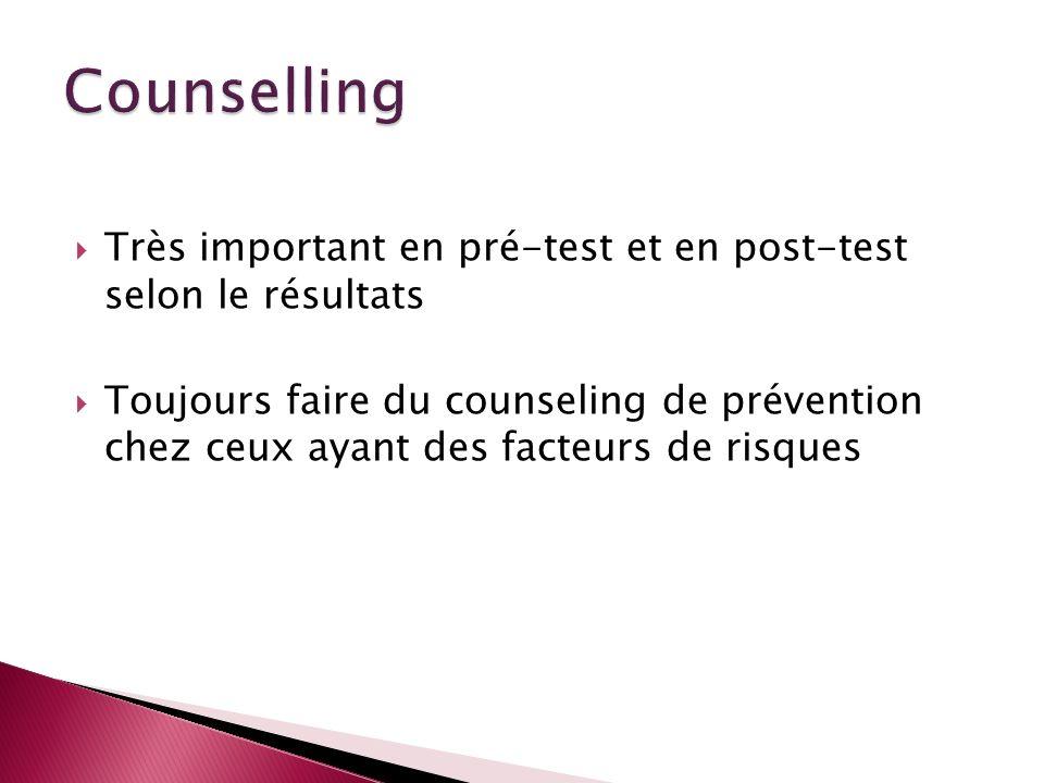 Counselling Très important en pré-test et en post-test selon le résultats.