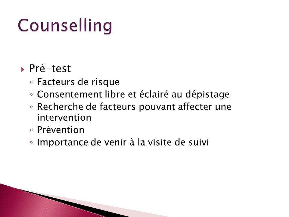 Counselling Pré-test Facteurs de risque