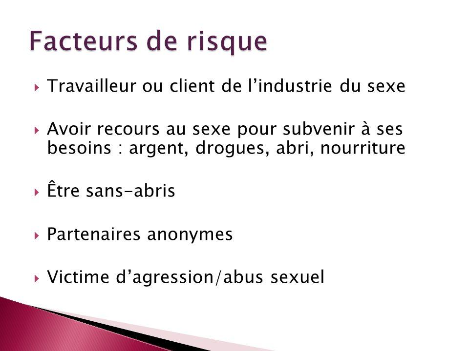 Facteurs de risque Travailleur ou client de l'industrie du sexe