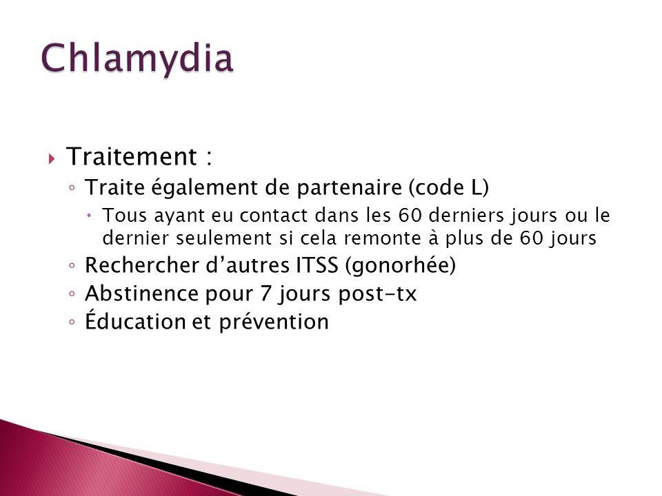 Chlamydia Traitement : Traite également de partenaire (code L)