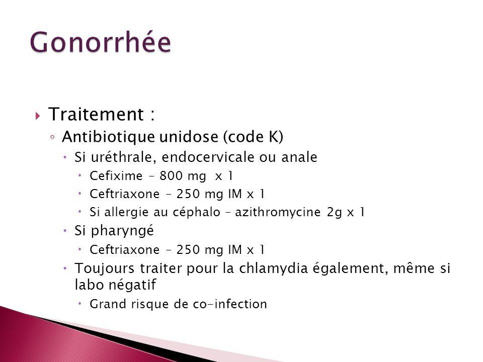 Gonorrhée Traitement : Antibiotique unidose (code K)