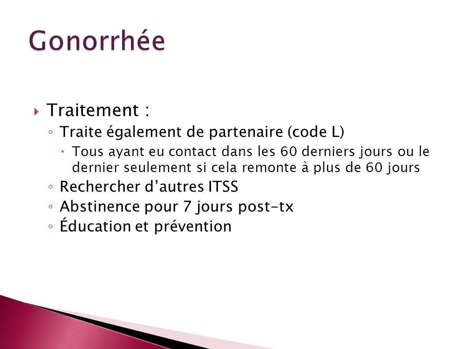 Gonorrhée Traitement : Traite également de partenaire (code L)