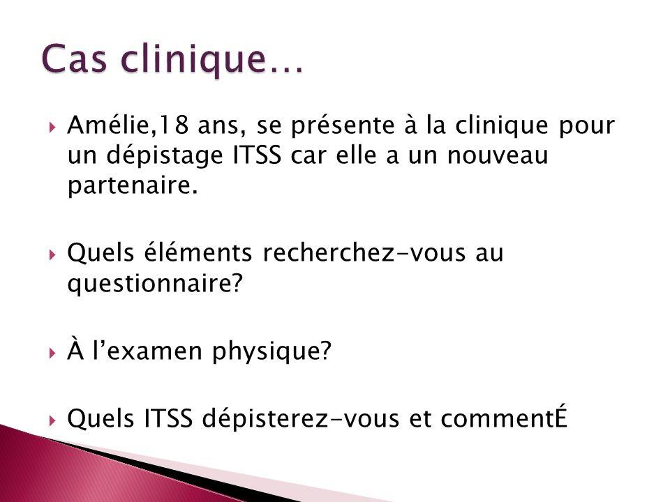 Cas clinique…Amélie,18 ans, se présente à la clinique pour un dépistage ITSS car elle a un nouveau partenaire.