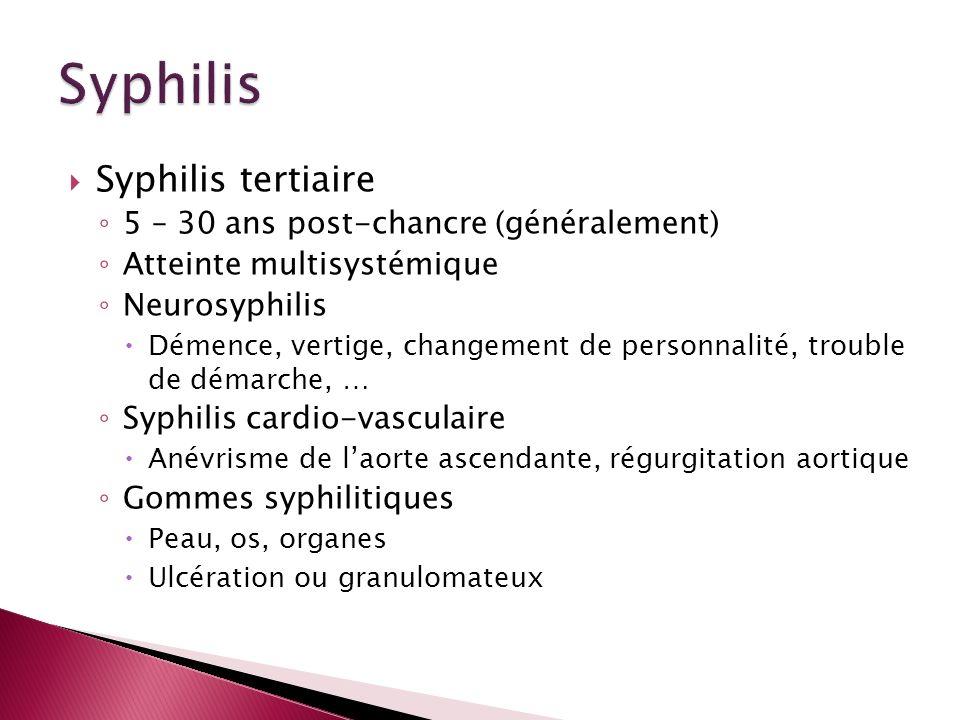 Syphilis Syphilis tertiaire 5 – 30 ans post-chancre (généralement)