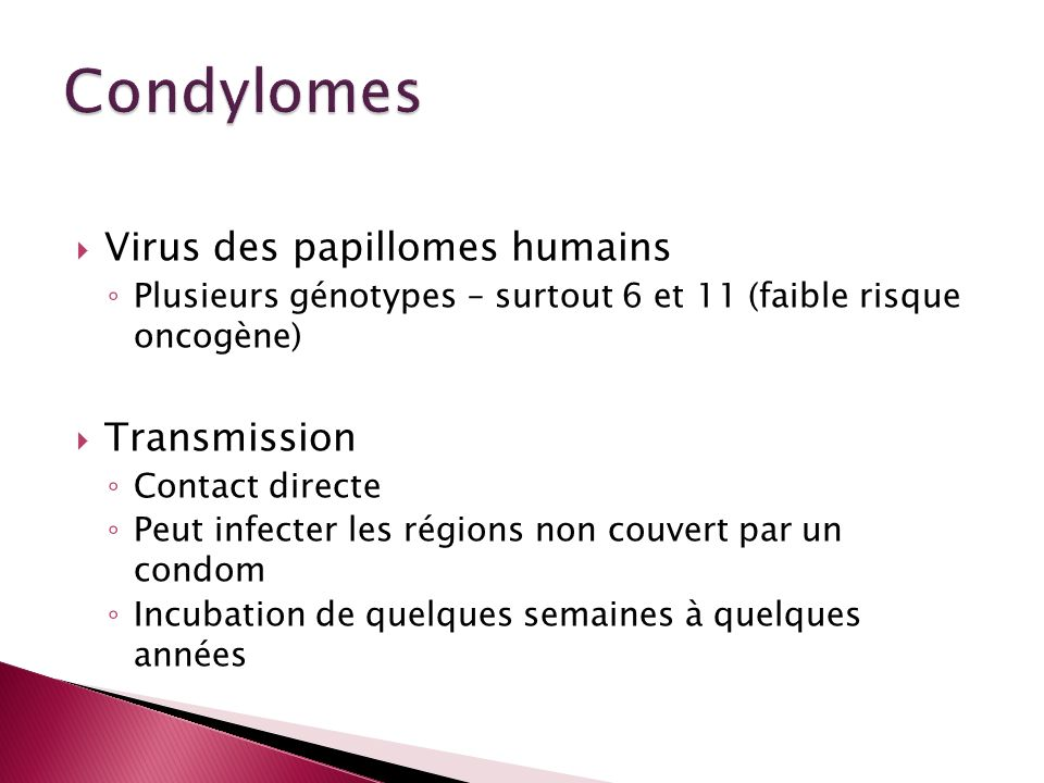Condylomes Virus des papillomes humains Transmission