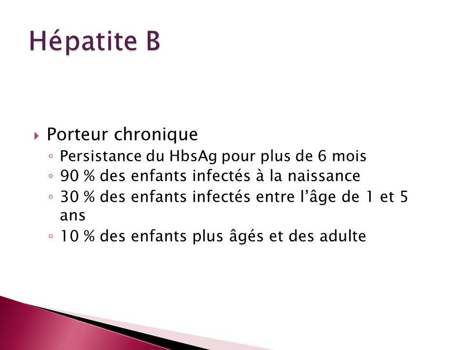 Hépatite B Porteur chronique 90 % des enfants infectés à la naissance