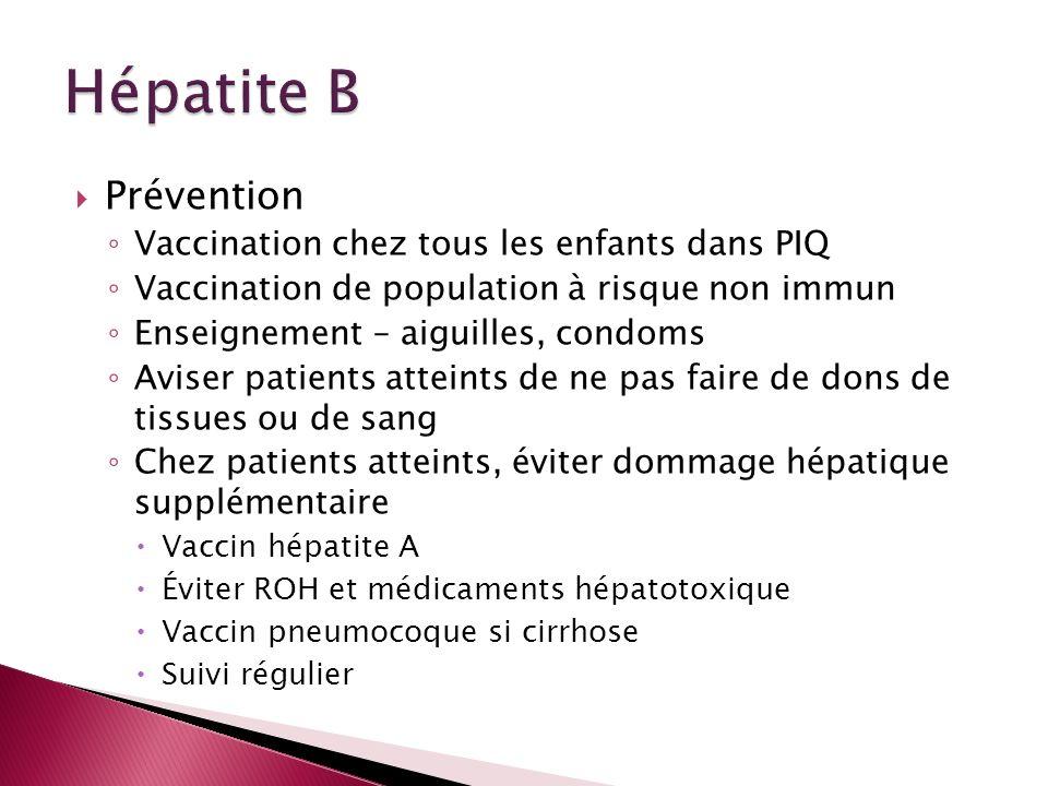 Hépatite B Prévention Vaccination chez tous les enfants dans PIQ