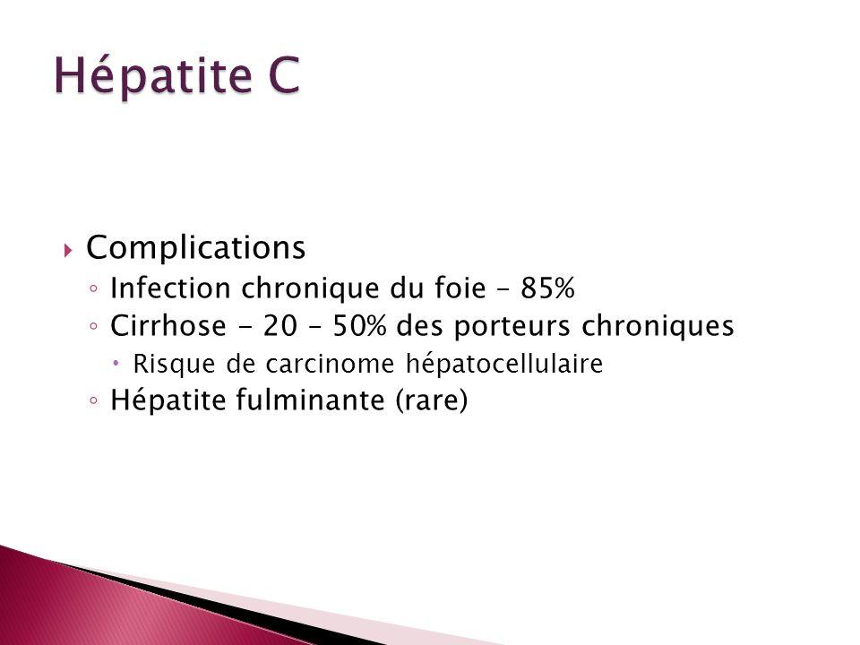Hépatite C Complications Infection chronique du foie – 85%