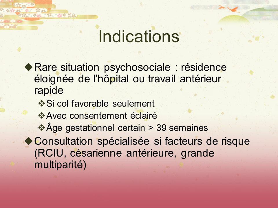 Indications Rare situation psychosociale : résidence éloignée de l'hôpital ou travail antérieur rapide.