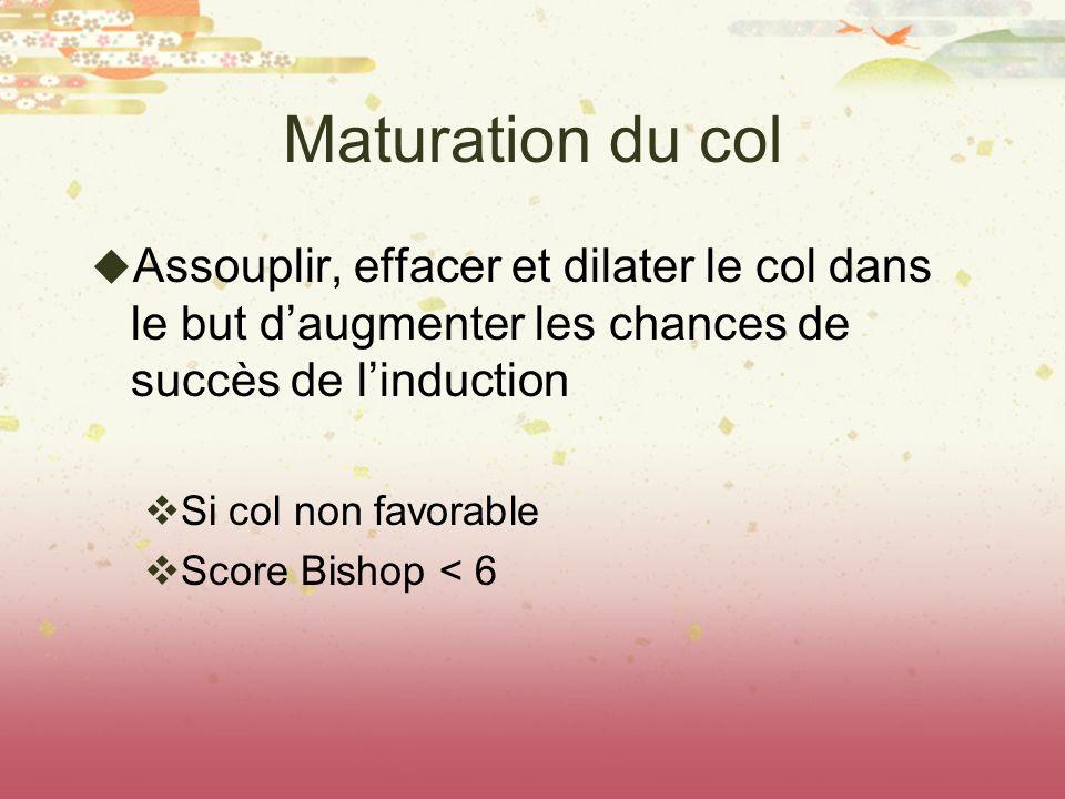 Maturation du col Assouplir, effacer et dilater le col dans le but d'augmenter les chances de succès de l'induction.