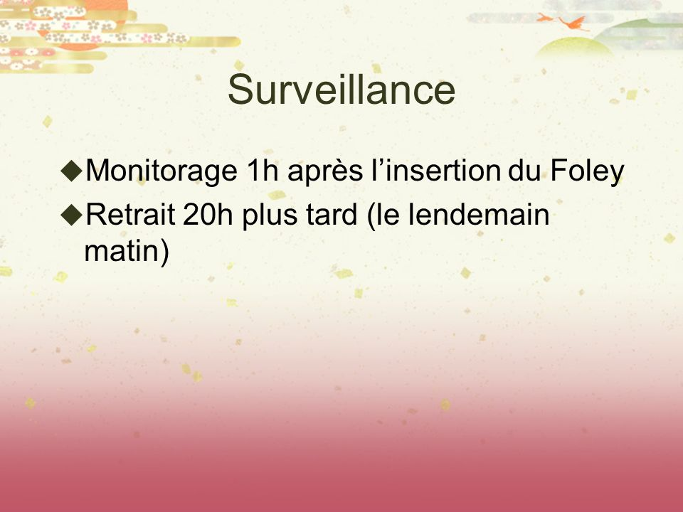Surveillance Monitorage 1h après l'insertion du Foley