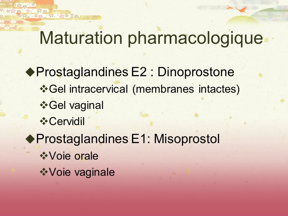 Maturation pharmacologique