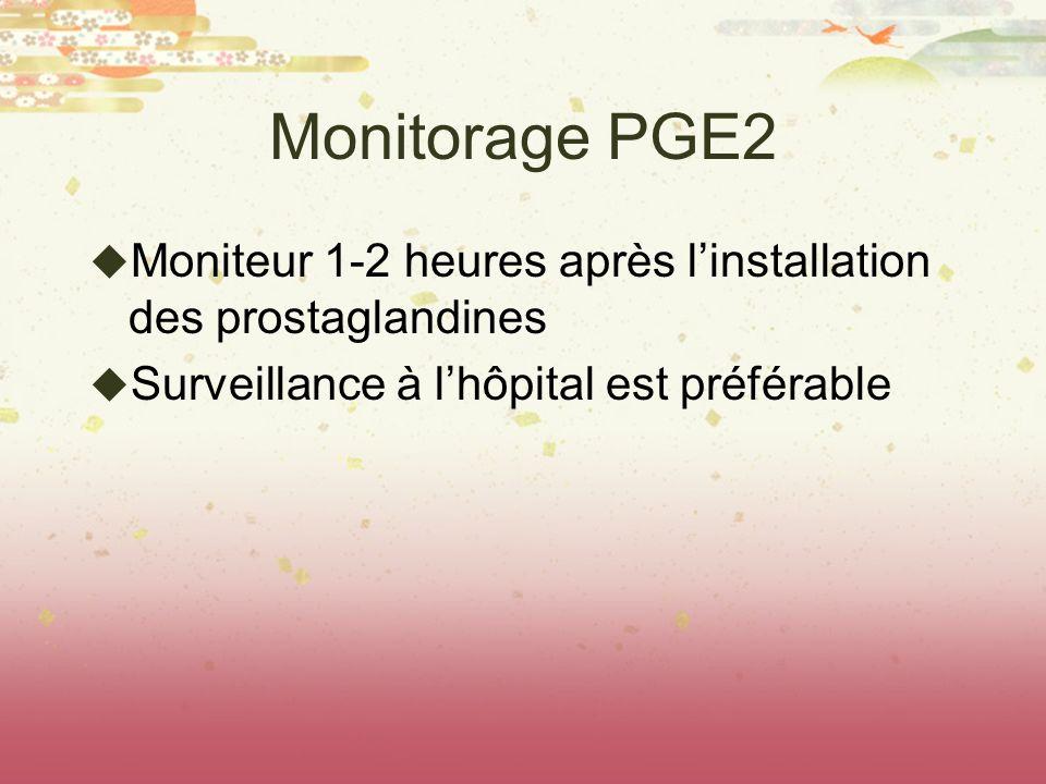 Monitorage PGE2 Moniteur 1-2 heures après l'installation des prostaglandines.