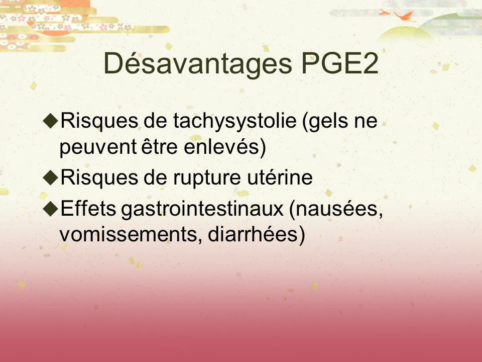 Désavantages PGE2 Risques de tachysystolie (gels ne peuvent être enlevés) Risques de rupture utérine.