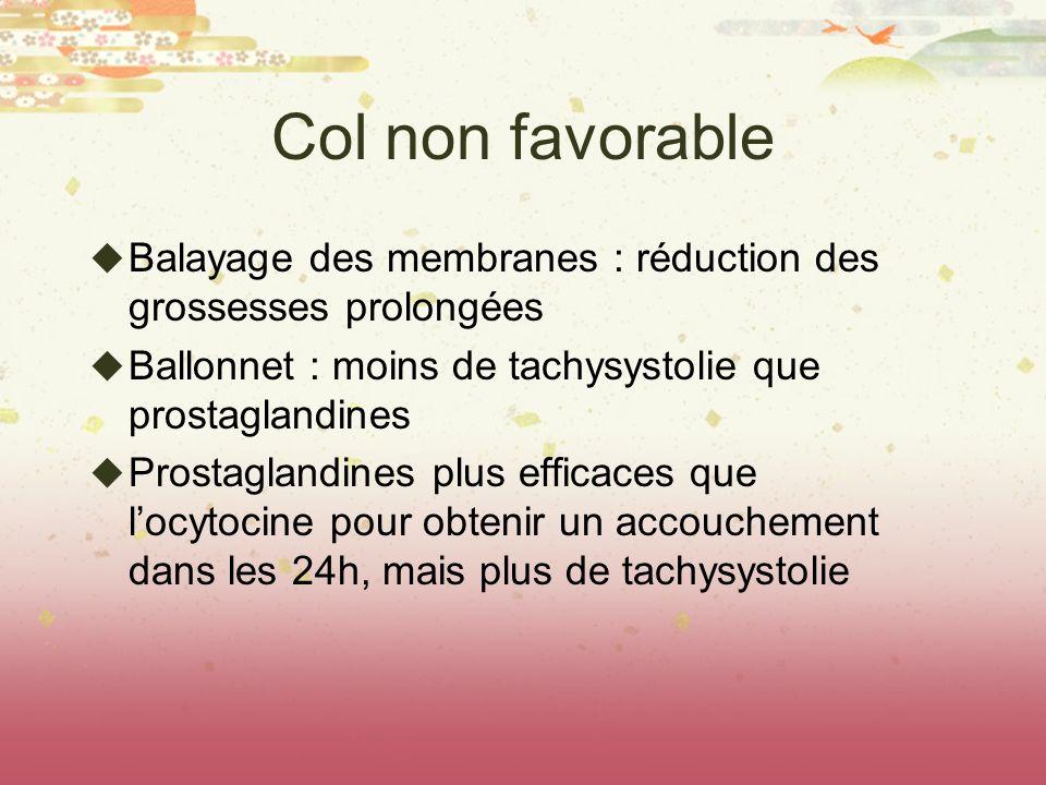 Col non favorable Balayage des membranes : réduction des grossesses prolongées. Ballonnet : moins de tachysystolie que prostaglandines.