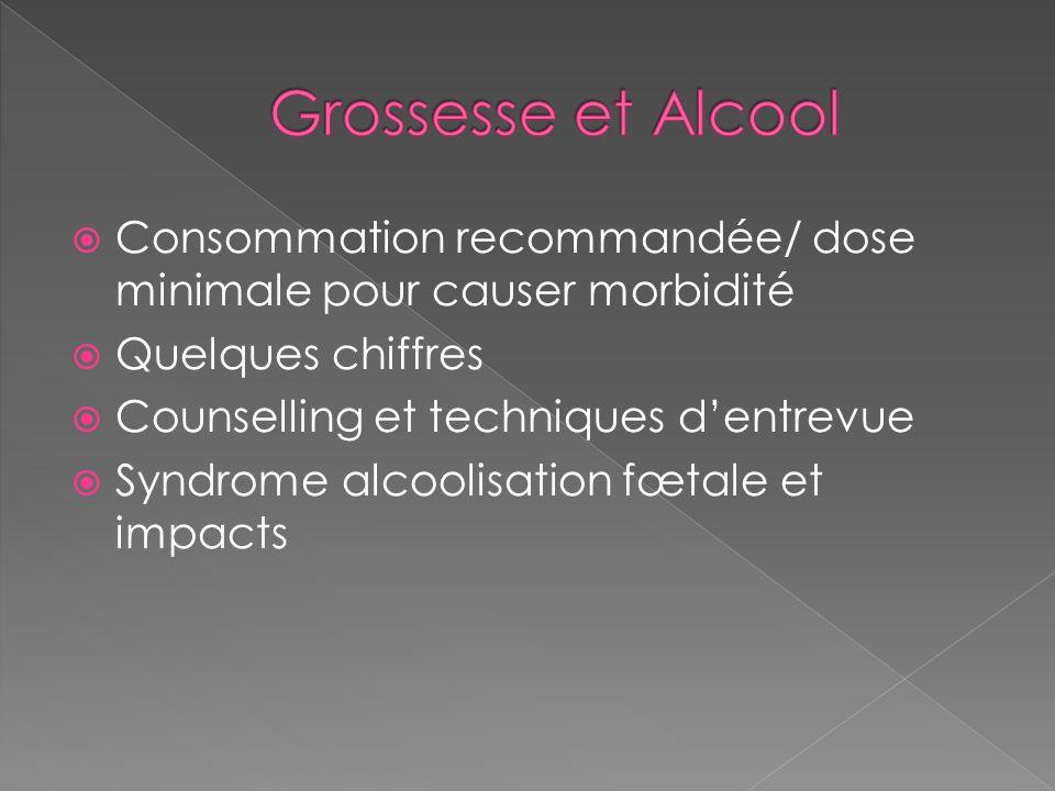 Grossesse et Alcool Consommation recommandée/ dose minimale pour causer morbidité. Quelques chiffres.