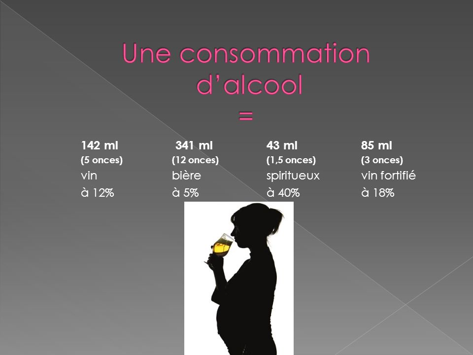 Une consommation d'alcool =