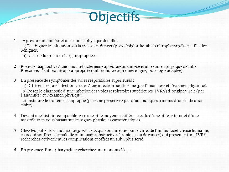 Objectifs 1 Après une anamnèse et un examen physique détaillé :