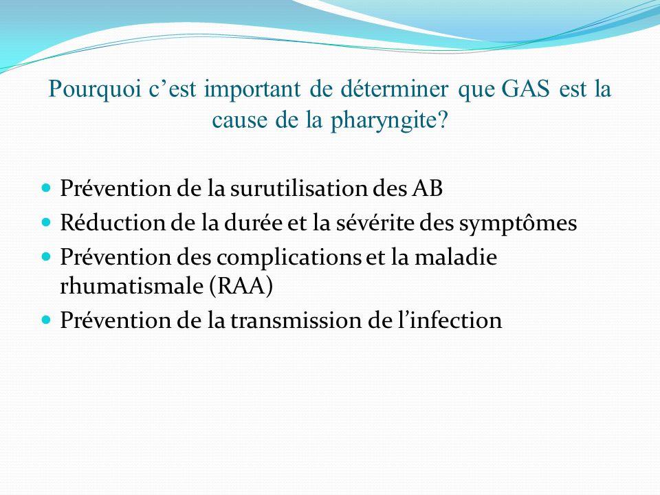 Pourquoi c'est important de déterminer que GAS est la cause de la pharyngite