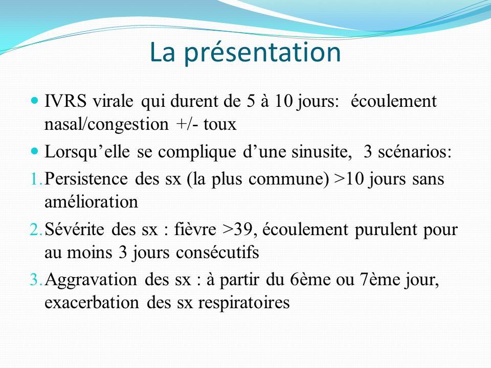 La présentation IVRS virale qui durent de 5 à 10 jours: écoulement nasal/congestion +/- toux.