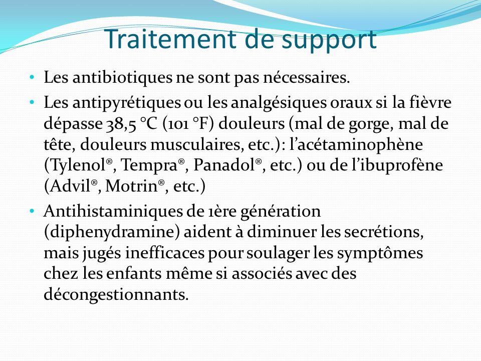 Traitement de support Les antibiotiques ne sont pas nécessaires.