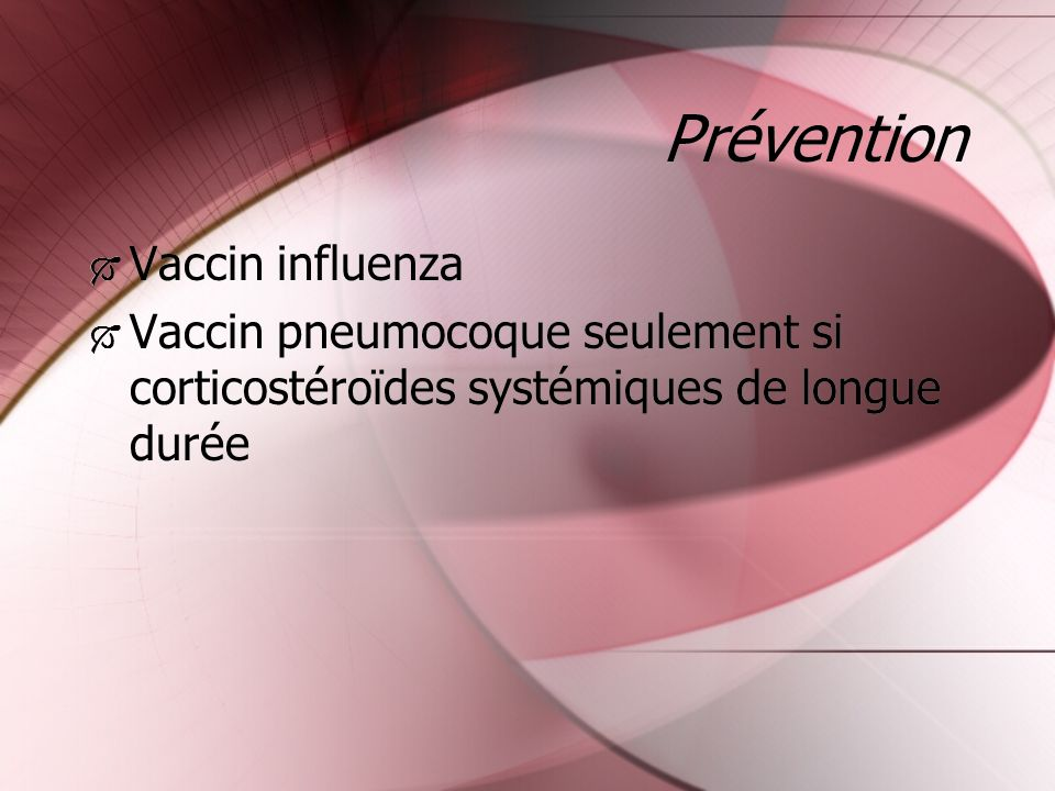 Prévention Vaccin influenza