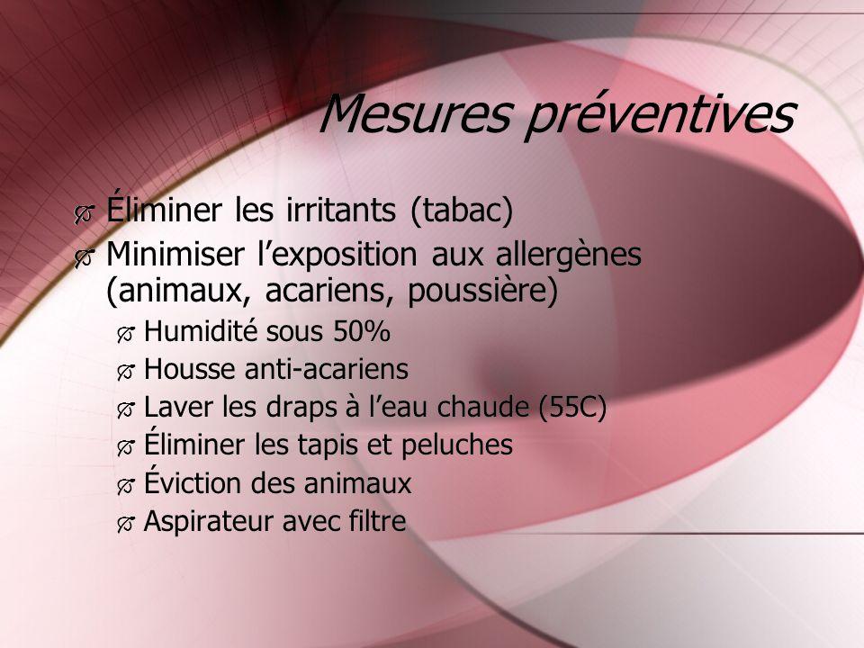 Mesures préventives Éliminer les irritants (tabac)