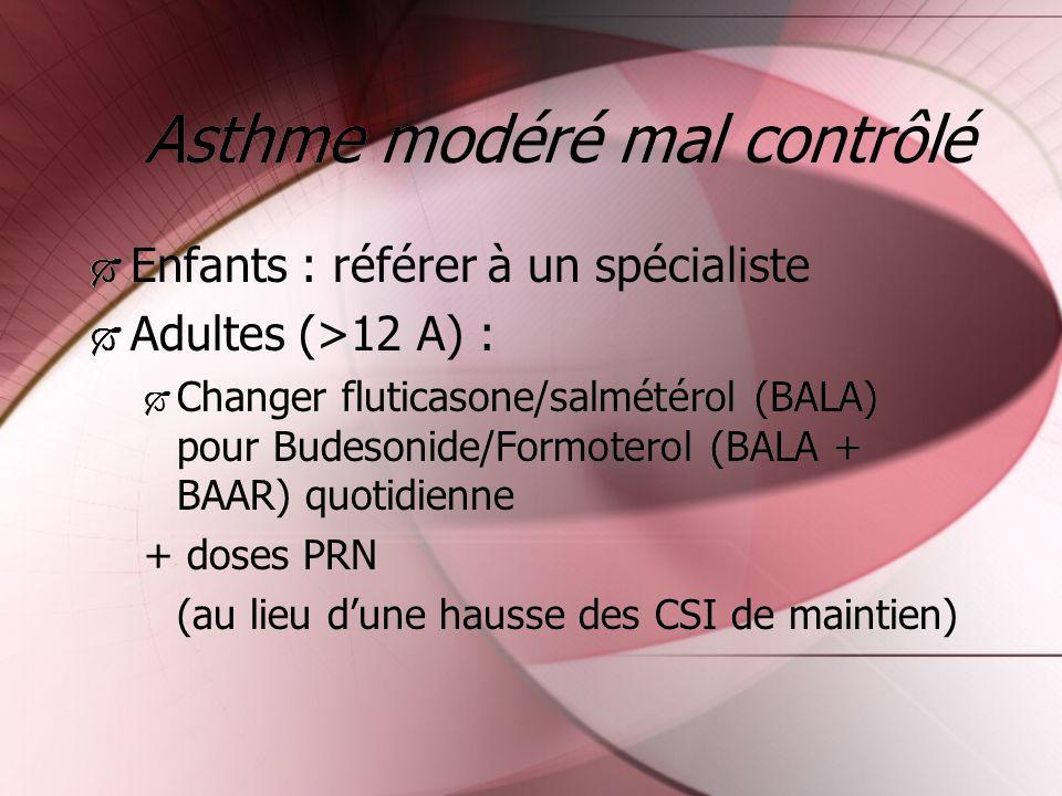 Asthme modéré mal contrôlé