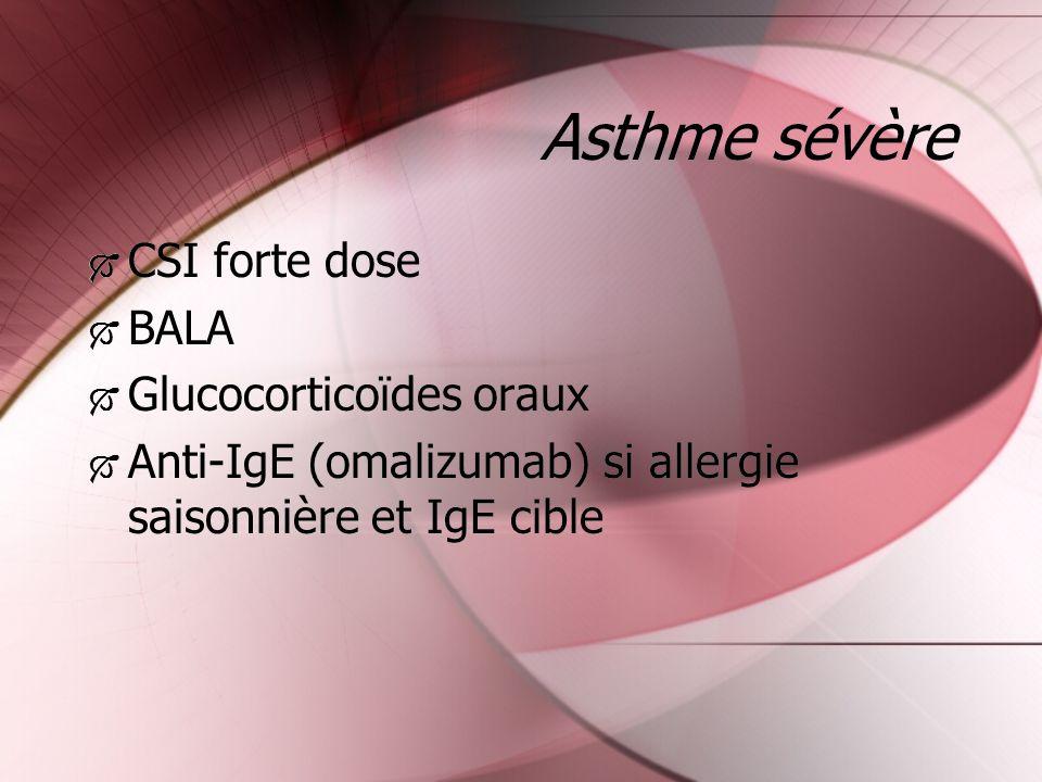 Asthme sévère CSI forte dose BALA Glucocorticoïdes oraux