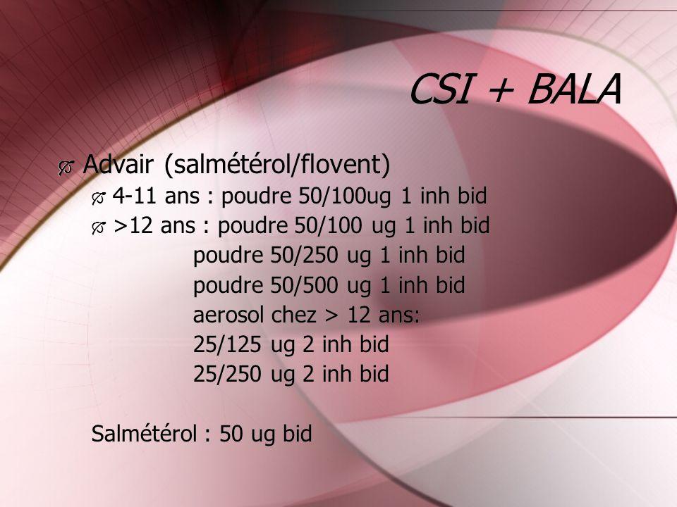 CSI + BALA Advair (salmétérol/flovent)