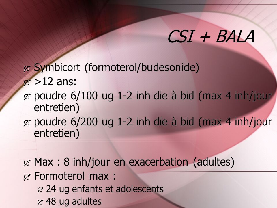 CSI + BALA Symbicort (formoterol/budesonide) >12 ans: