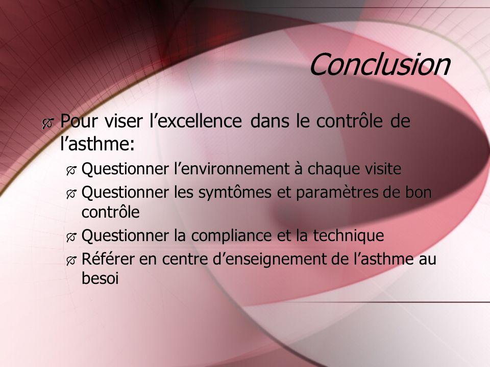 Conclusion Pour viser l'excellence dans le contrôle de l'asthme: