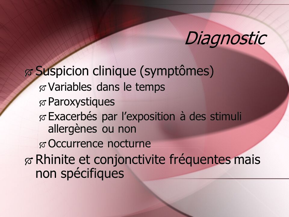 Diagnostic Suspicion clinique (symptômes)