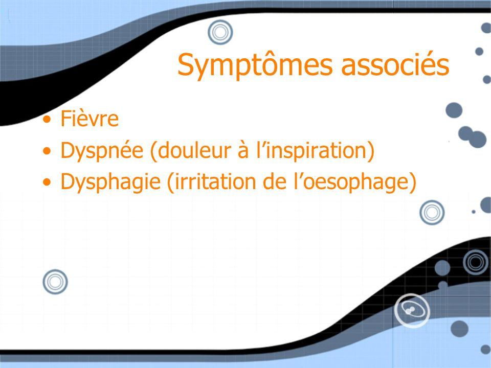 Symptômes associés Fièvre Dyspnée (douleur à l'inspiration)
