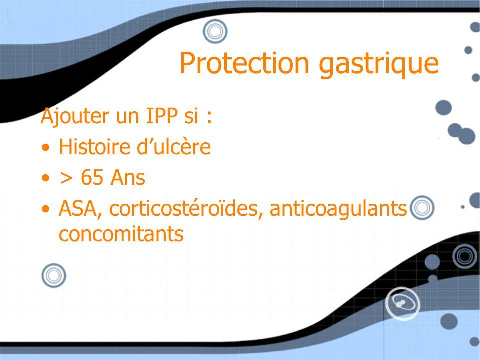 Protection gastrique Ajouter un IPP si : Histoire d'ulcère > 65 Ans