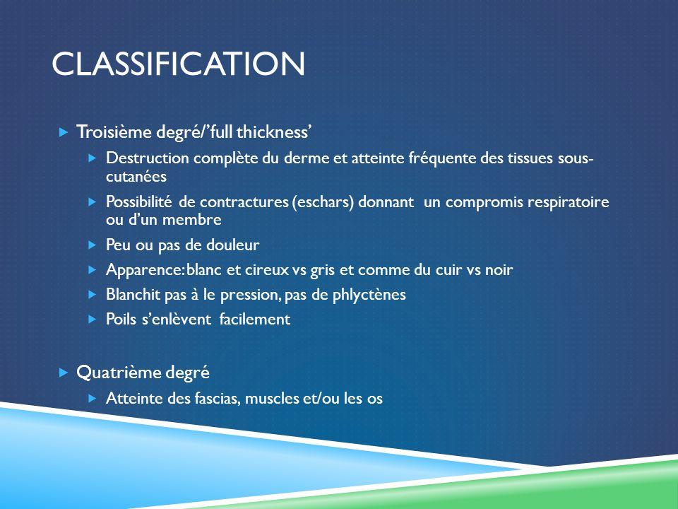 Classification Troisième degré/'full thickness' Quatrième degré