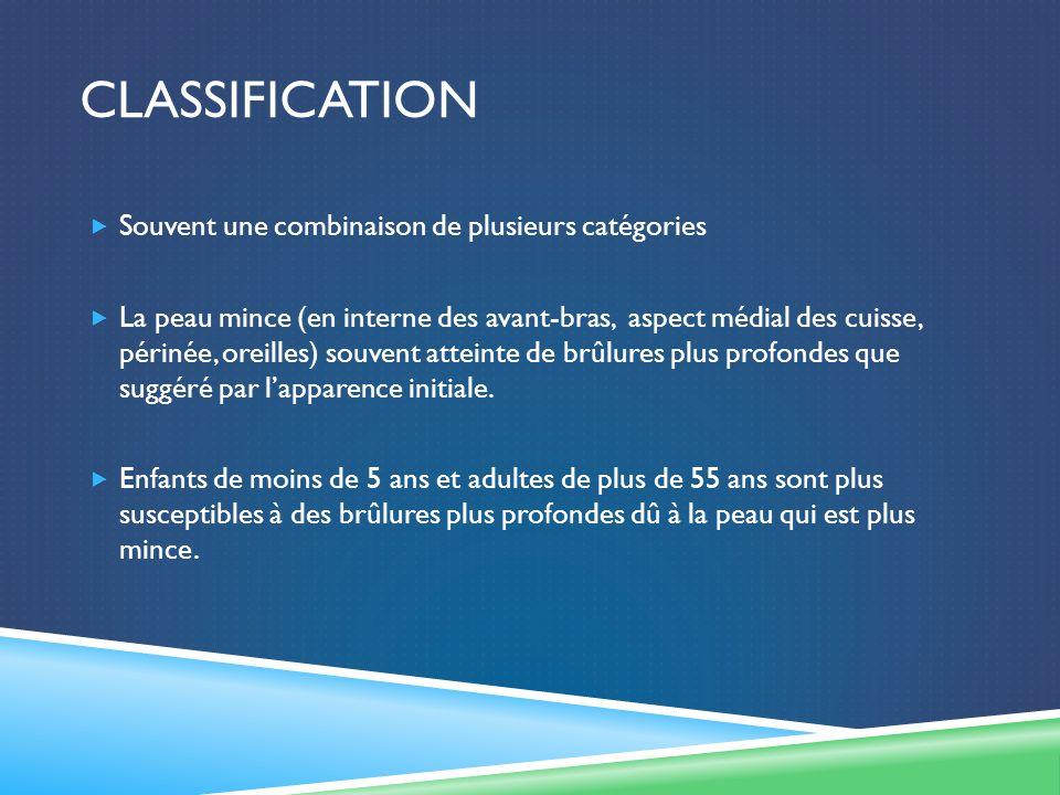Classification Souvent une combinaison de plusieurs catégories