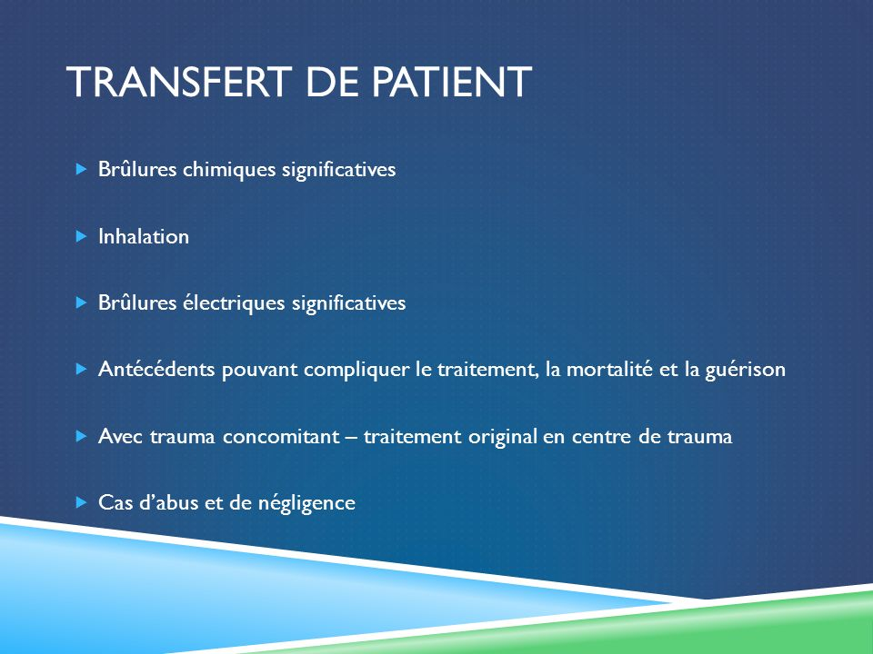 Transfert de patient Brûlures chimiques significatives Inhalation