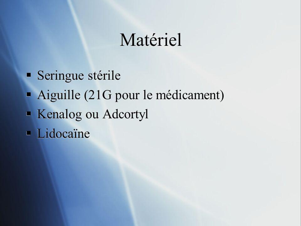 Matériel Seringue stérile Aiguille (21G pour le médicament)