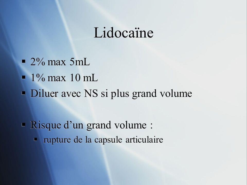 Lidocaïne 2% max 5mL 1% max 10 mL Diluer avec NS si plus grand volume