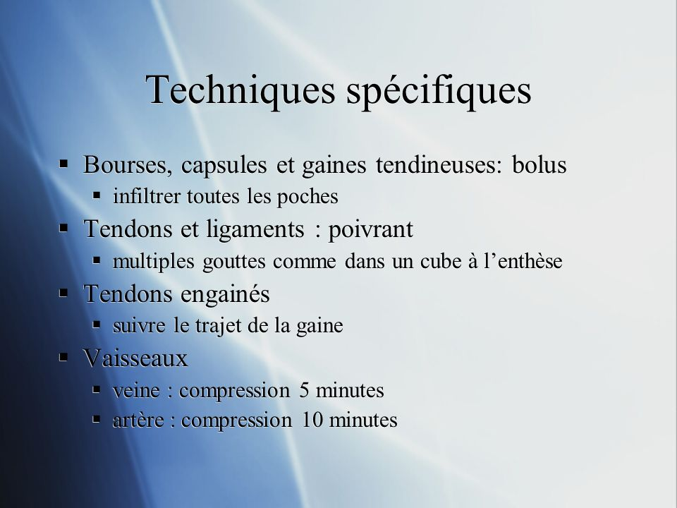 Techniques spécifiques