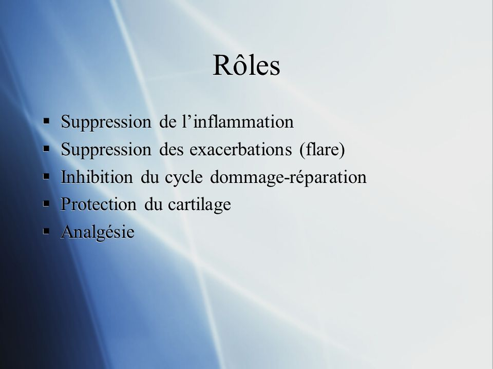 Rôles Suppression de l'inflammation