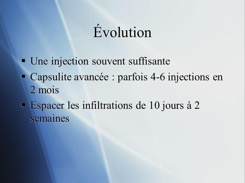 Évolution Une injection souvent suffisante