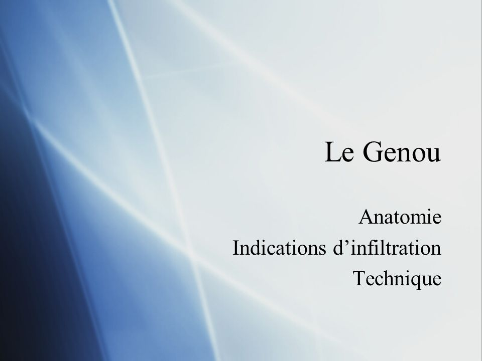Anatomie Indications d'infiltration Technique