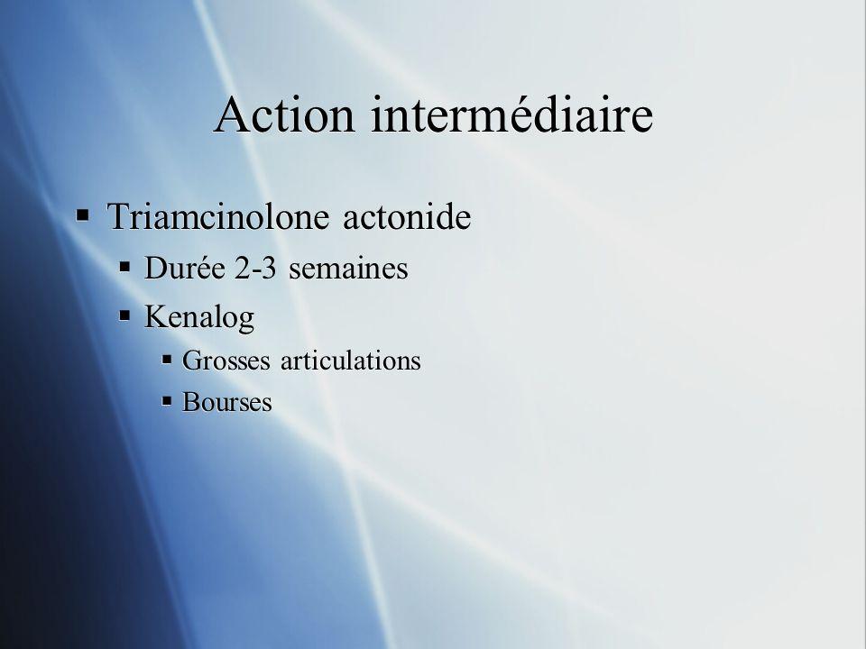 Action intermédiaire Triamcinolone actonide Durée 2-3 semaines Kenalog