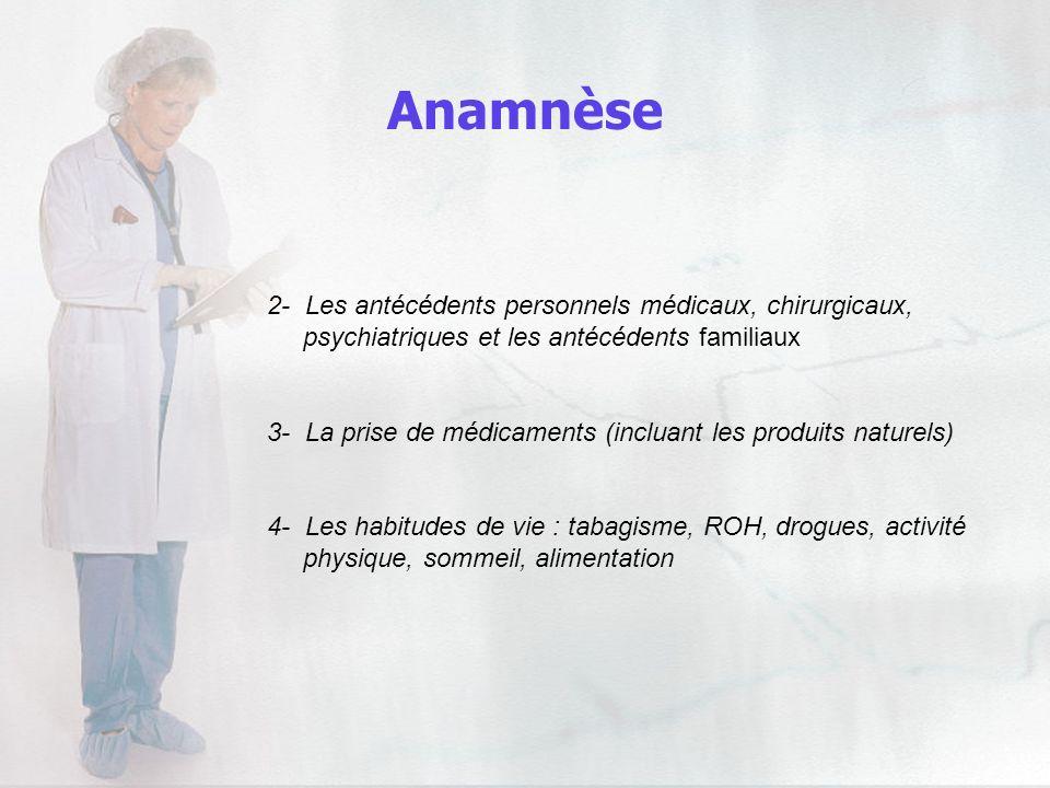 Anamnèse 2- Les antécédents personnels médicaux, chirurgicaux,